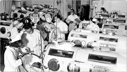 Iron lung ward, Haynes Memorial Hospital; Boston, MA; 1955