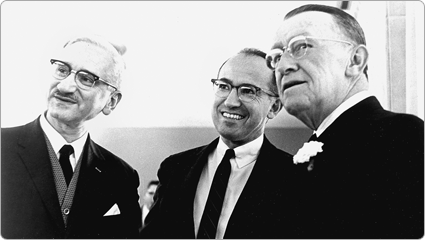 Albert Sabin, MD; Jonas Salk, MD; and March of Dimes President Basil O'Connor; 1961. Polio vaccines developed by Drs. Sabin and Salk under March of Dimes grants ended the polio epidemics in the United States.