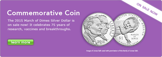 Commemorative Coin - The 2015 March of Dimes Silver Dollar is on sale, it celebrates 75 years of research, vaccines and breakthroughs