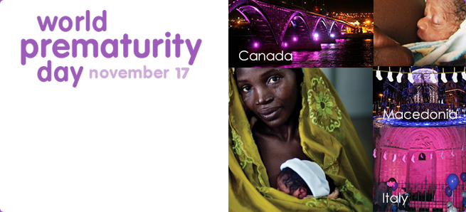 A five-picture collage showing a purple lit bridge in Canada, a close up of a wrapped premature baby's face, baby socks hanging in Macedonia, purple lit arch in Italy and an African mother holding a premature baby.